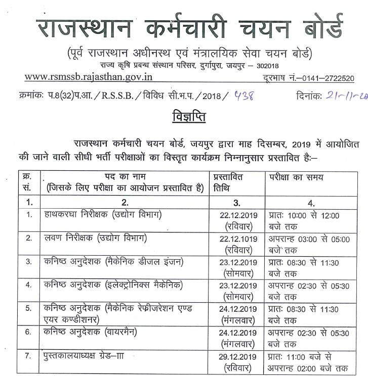 RSSB Librarian, Jr. Instructor, Industry Dept Exam Date 2019 RSMSSB Exam Date Released