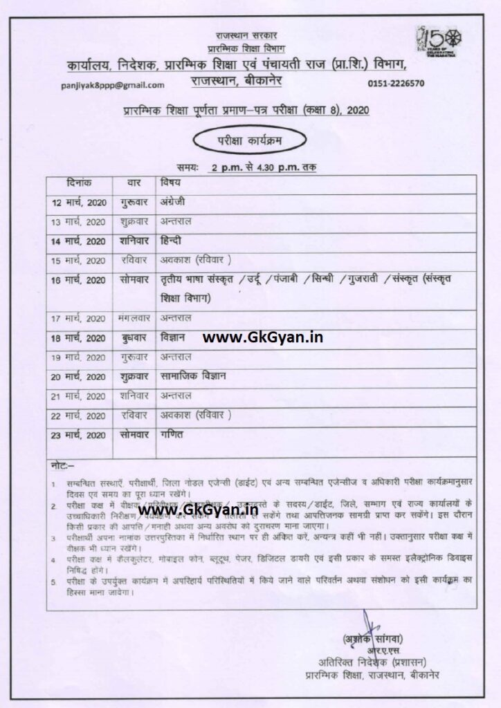 Rajasthan Board 8th Class Time Table 2020 DIET 8th Date Sheet