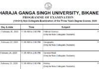 MGSU BA 1st 2nd 3rd Year Time Table 2020
