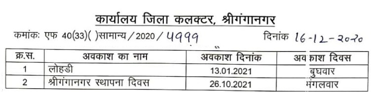 Rajasthan collector holiday list 2021 Ganganagar district collector declare two local holiday