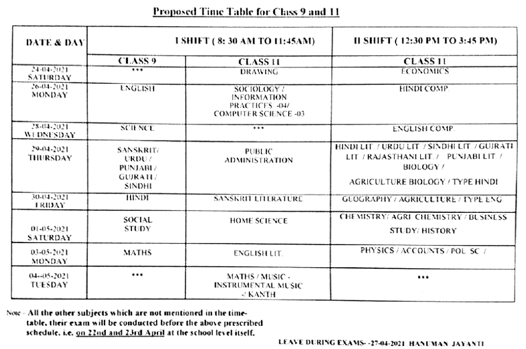 RBSE 9th/ 11th Exam Date Sheet 2021